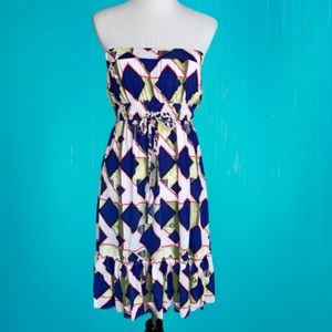 NWT India Boutique Strapless Geometric Dress